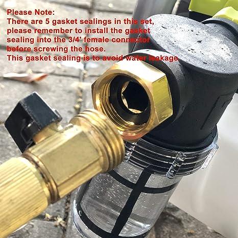 Kuinayouyi 3//4 Pouces le Filtre de Tuyau de Jardin pour la Pression LEau Entr/éE Laveuse le Filtre /à S/éDiments pour LExt/éRieur Filtre DEntr/éE DEau de Jardinage avec 2 Extra /éCran 100 Mesh
