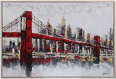 Peinture à l'huile avec Cadre - Pont de Brooklyn
