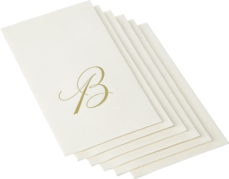 Caspari B, White Pearl Paper Linen Guest Towels, Monogram Initial, Pack of 24