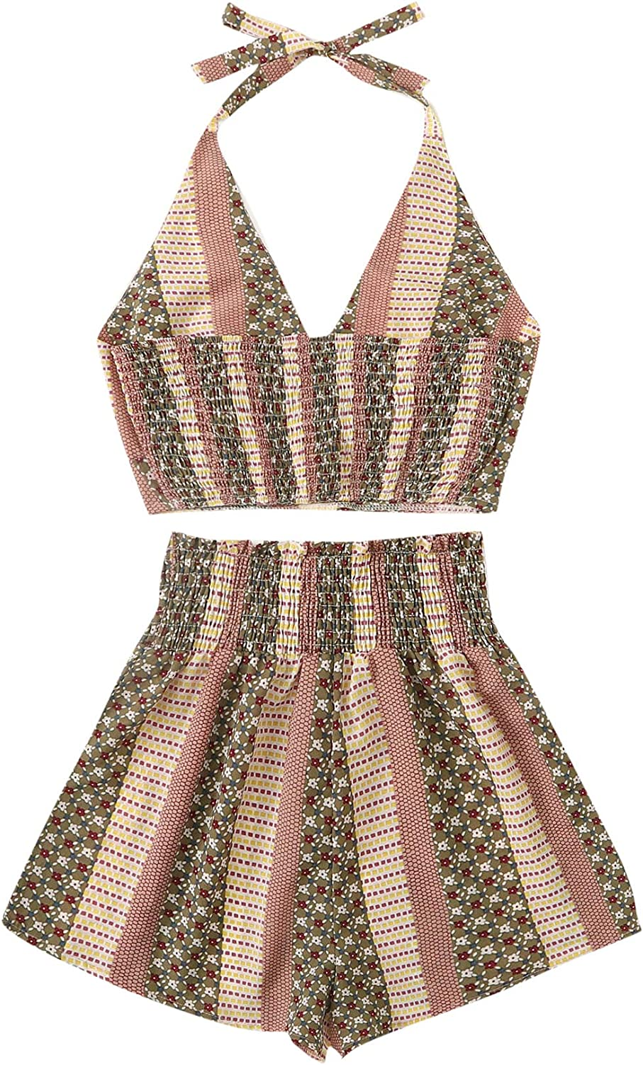 Milumia Womens Two Piece Floral and Geo Print Cami Halter Top Shirred Wide Leg Shorts Set
