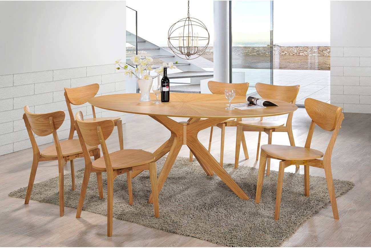 Aeon Furniture Brockton Oval Dining Table in Natural White Finish