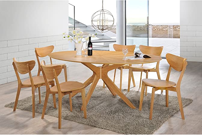 Aeon Furniture Brockton Oval Dining Table In Natural White Finish Tables Amazon Com
