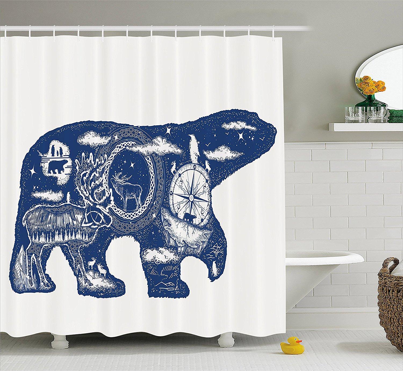 Amazon.com: Cabin Decor Shower Curtain, Cosmic Fantasy Polar Bear ...