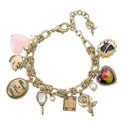 "5c5aae6e8 Amazon.com: Disney Danielle Nicole Antique Gold Tone Beauty and The Beast Charm  Bracelet for Women, 7.5"": Jewelry"