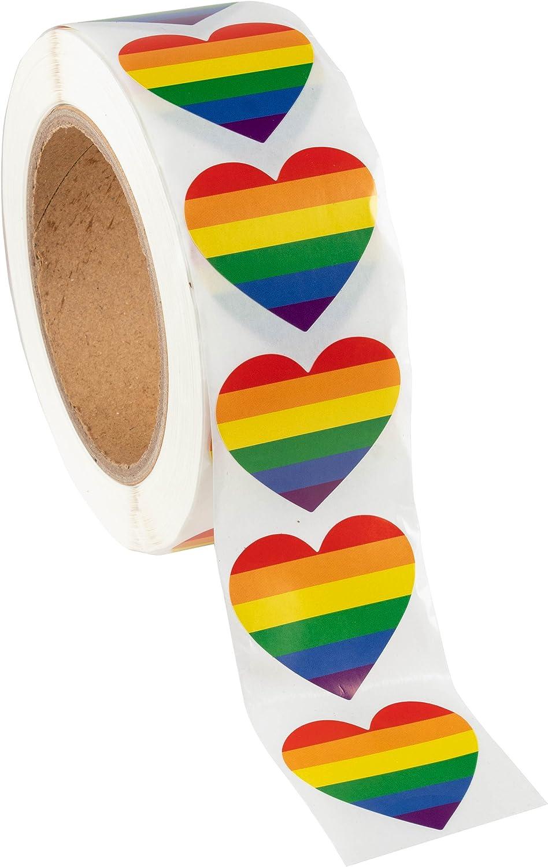 Gay Pride Stickers - Rollo de 1000 pegatinas en forma de corazón, diseño de bandera de Gay, para regalos, manualidades, sellado de sobres, 3,8 x 4,4 cm: Amazon.es: Juguetes y juegos