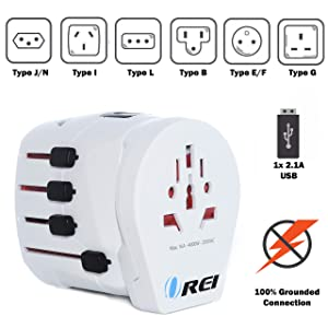 Orei M8 Plus All-in-One Grounded International Worldwide Travel Plug Adapter with Dual USB Charger - Retail Packaging - White