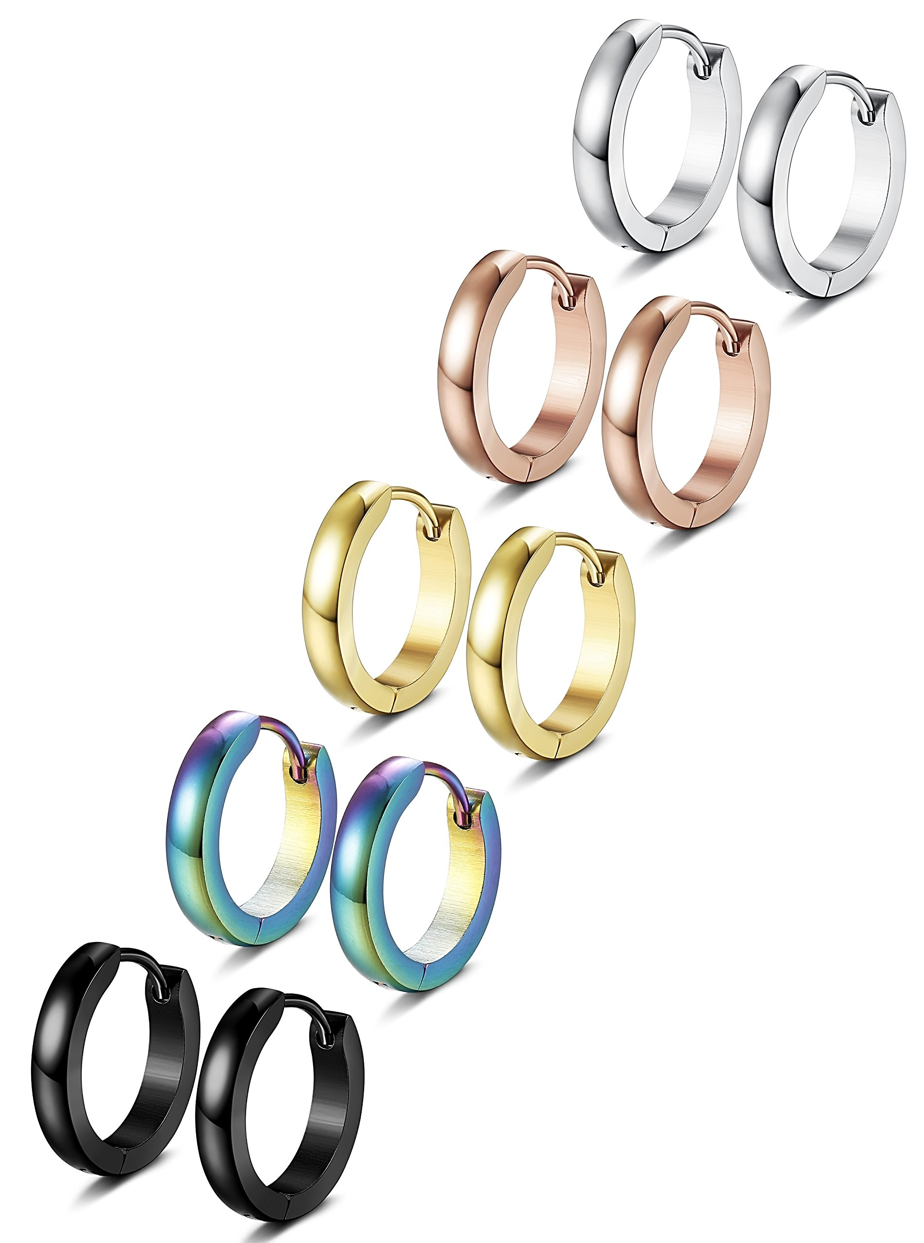 FIBO STEEL 5 Pairs Stainless Steel Hoop Earrings for Men Women Huggie Earrings 13MM Available