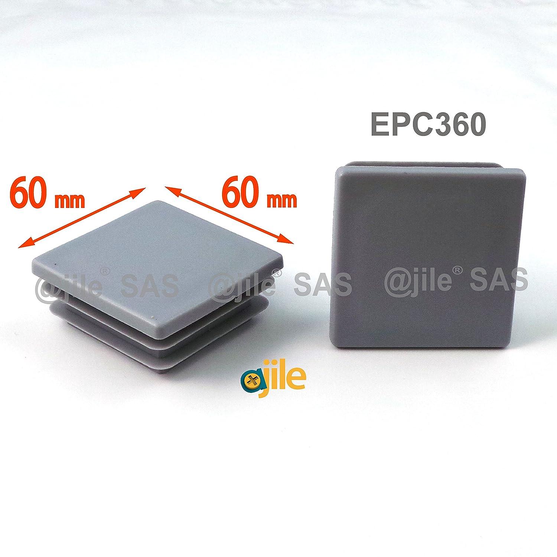 EPC360 ajile Contera acanalada para tubo cuadrado 60 x 60 mm GRIS 4 piezas