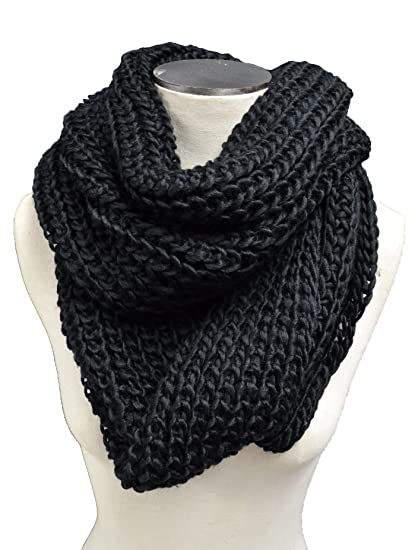 Braided Crochet Cable Knit Infinity Scarf Black At Amazon Women S