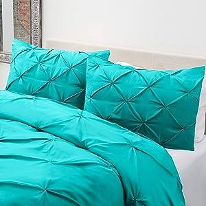 Nestl Bedding Teal Full/Queen Comforter Set - 3 Piece Pinch Pleat Comforter Set with 2 Pillow Shams
