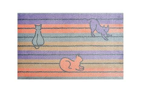 Alfombrilla Lifestyle 150111 Felpudo Gatos Pastel, Antideslizante y Lavable, microfibras, 40 x 60