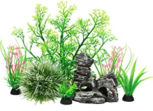 JIH 7 Pieces Aquarium Fish Tank Decorations Decor Set, Include Small and Large Artificial Fish Tank Plants with Cave Rock