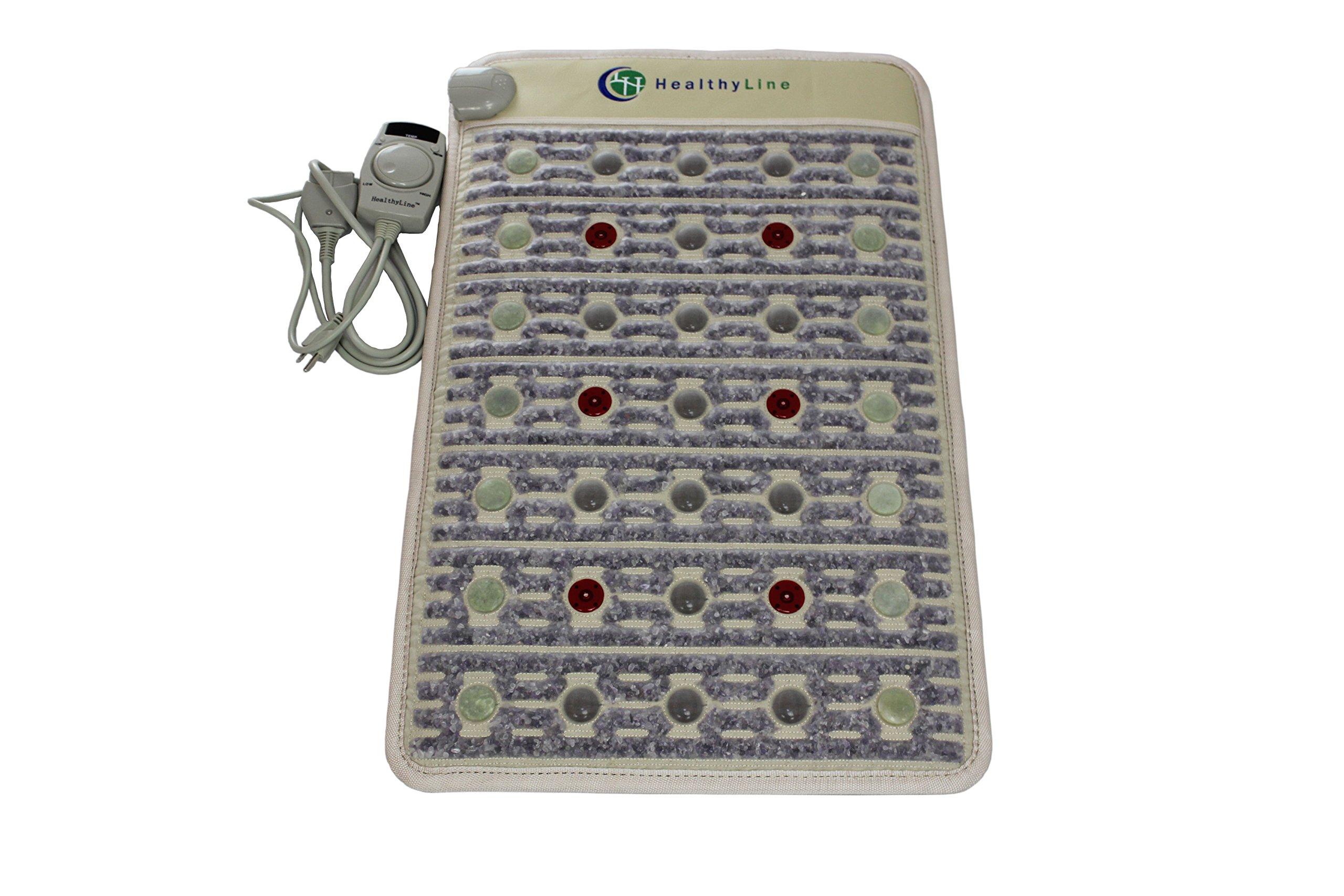 HealthyLine Far Infrared Heating Mat (Firm)|PEMF 7.83Hz TAJ, Natural Amethyst, Jade & Tourmaline, Photon Light Heat Mat 32'' x 20'' | Relieve Pain, Sore Muscles, Arthritis | FDA Registered