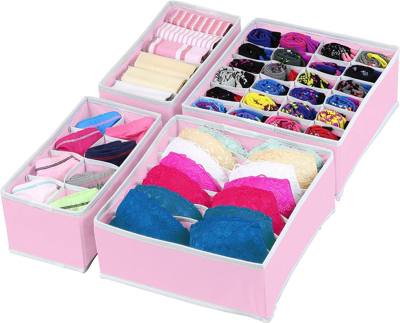 SimpleHouseware Closet Underwear Organizer Drawer Divider Set of 4 Dark Grey