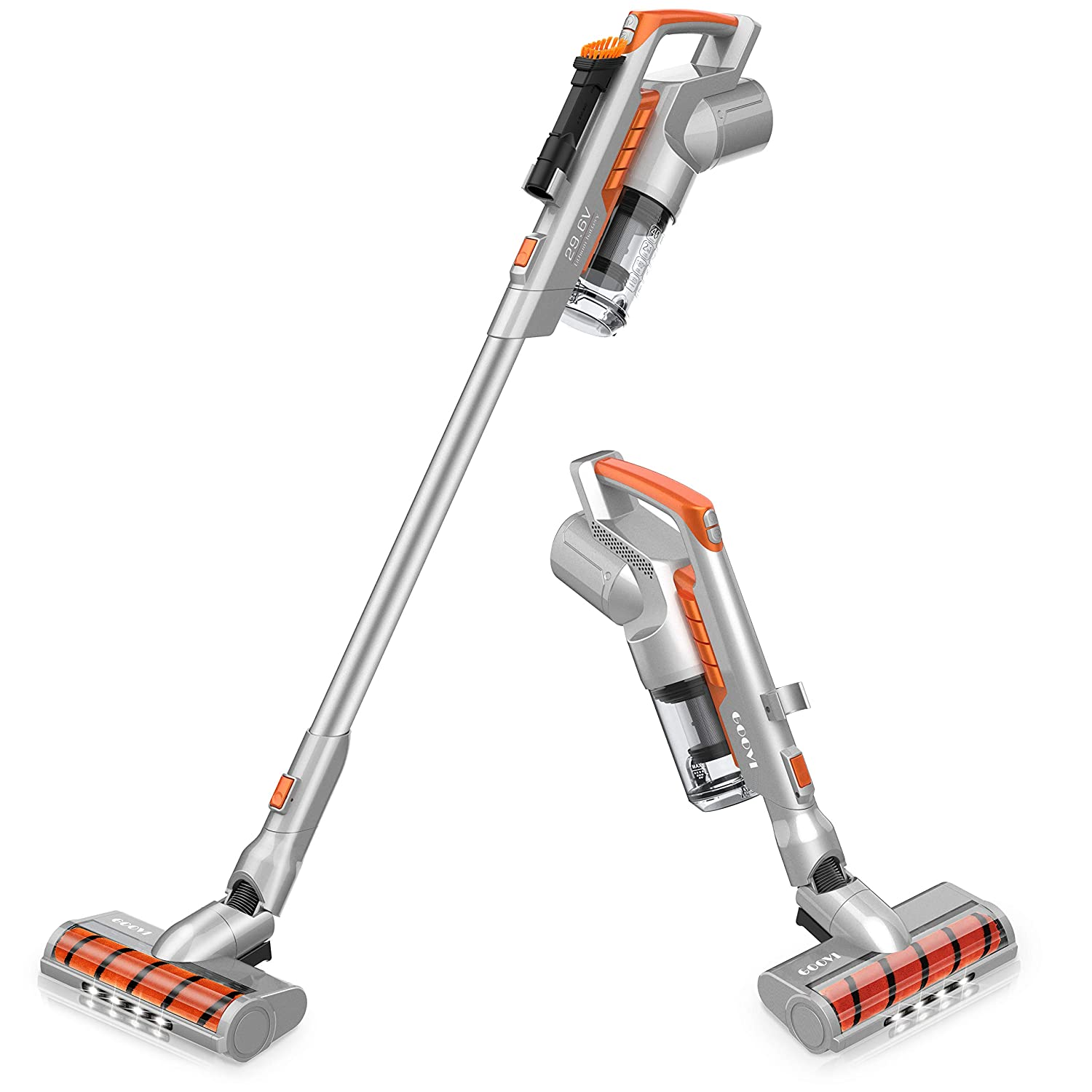 Cordless Vacuum, GOOVI Stick Vacuum Cleaner, Powerful Cleaning Lightweight 2 in 1 Handheld Vacuum with Rechargeable Lithium Ion Battery and LED Brush