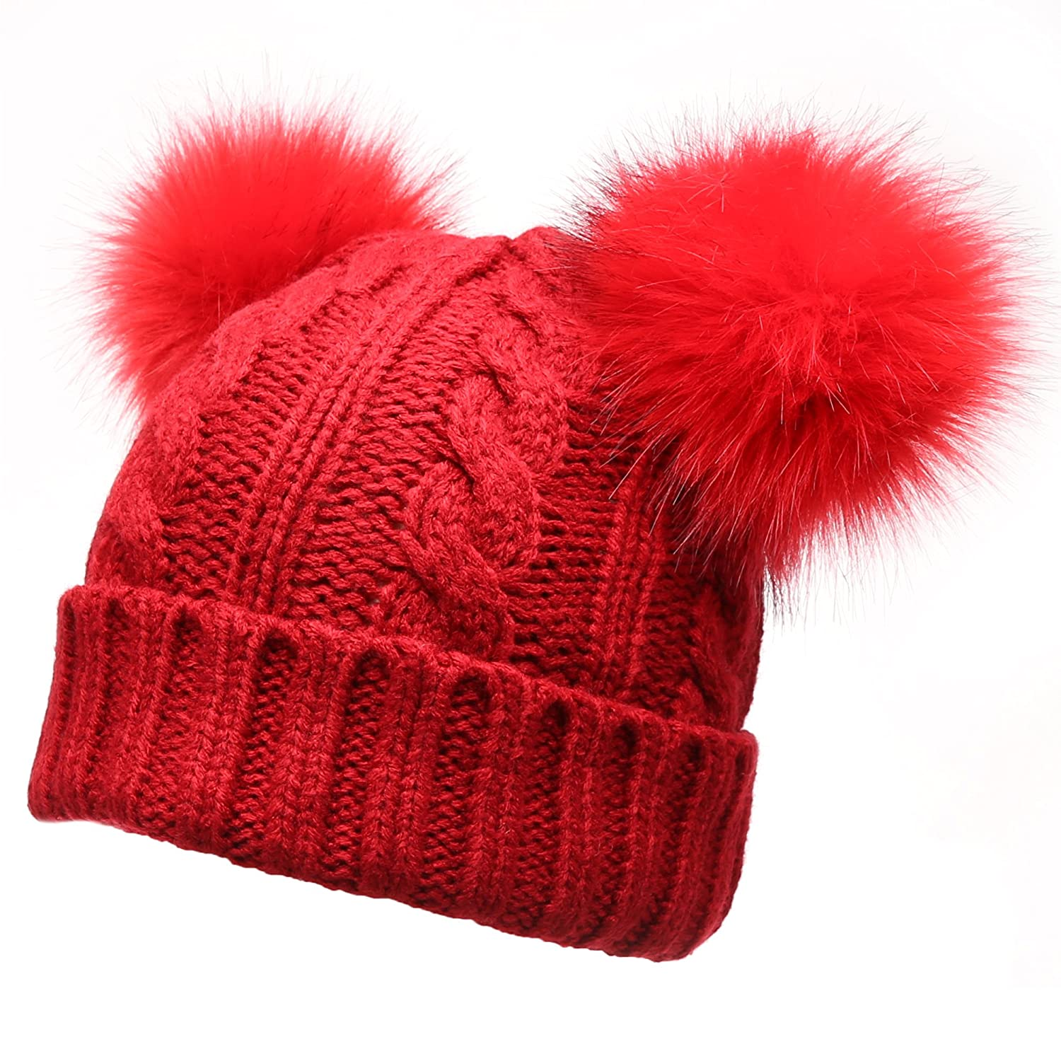 9a379fa78e3 Women s Winter Cable Knitted Faux Fur Double Pom Pom Beanie Hat with Plush  Lining.