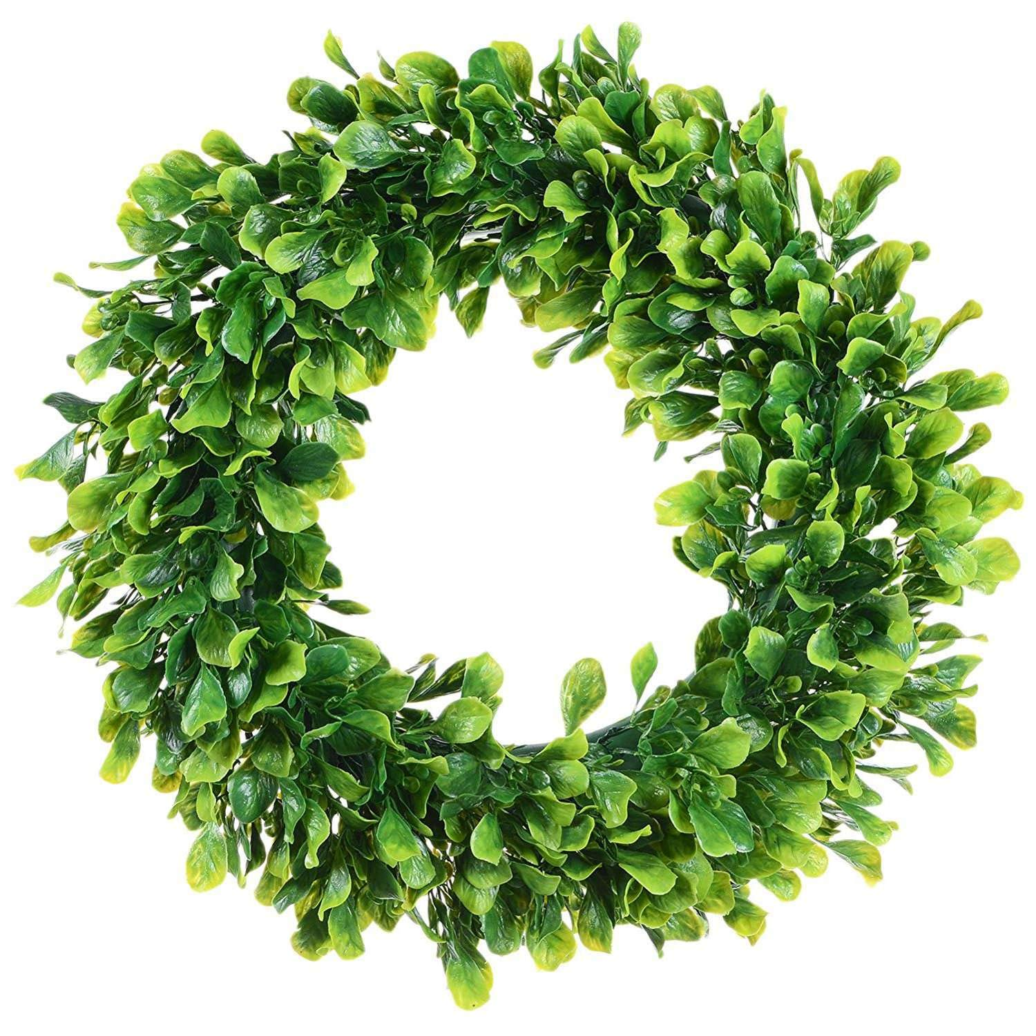 Wreaths /& Garlands Christmas Wreath Leaf Wreath Artificial Leaf Door Round Ball Plant Door Wall Flower Door C Artificial Green Leaves Wreath 15 Inch Boxwood Outdoor Wall Window Party Decor