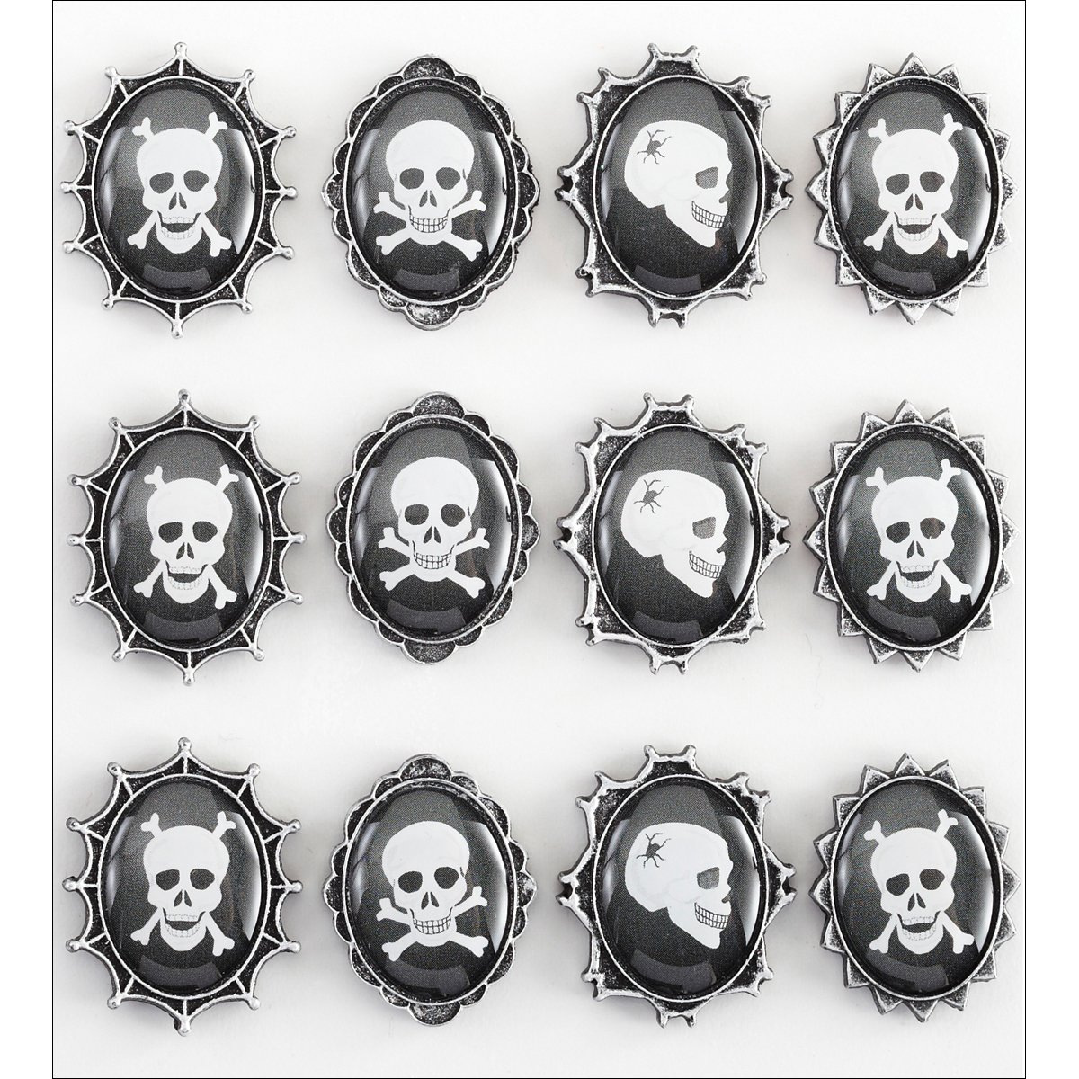 Jolees Boutique Parcel Dimensional Stickers Skull Cameos