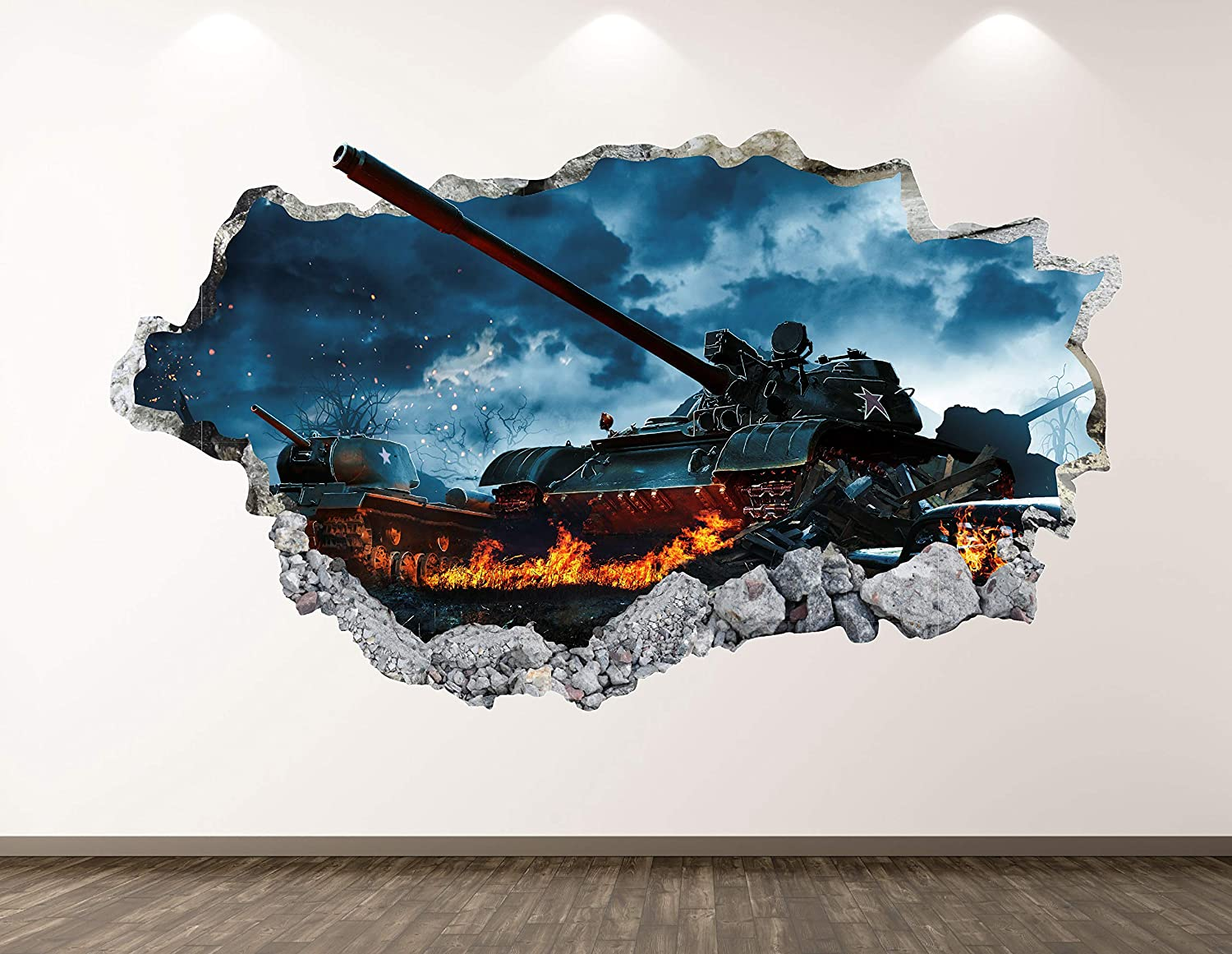 "West Mountain War Tank Wall Decal Art Decor 3D Smashed Soldier Army Sticker Poster Kids Room Mural Custom Gift BL257 (70"" W x 40"" H)"