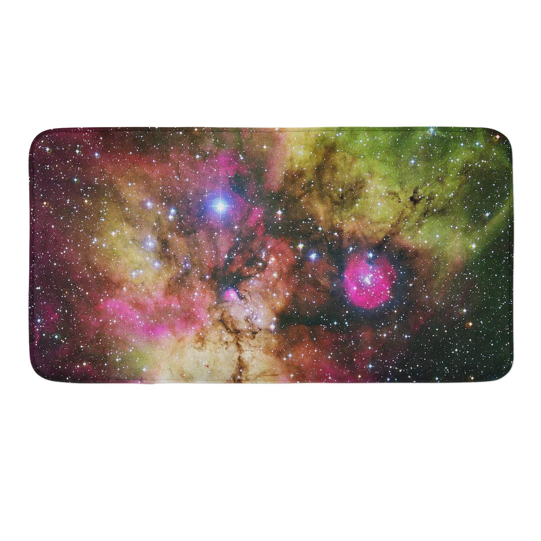 CIGOCI Anti-Skid Memory Foam Bathroom Rugs - 18 x 36 Inch, Extra Absorbent,Soft,Duarable and Quick-Dry Shaggy Rugs, 3D PrintUniverse Nebula Galaxy Bath Rug