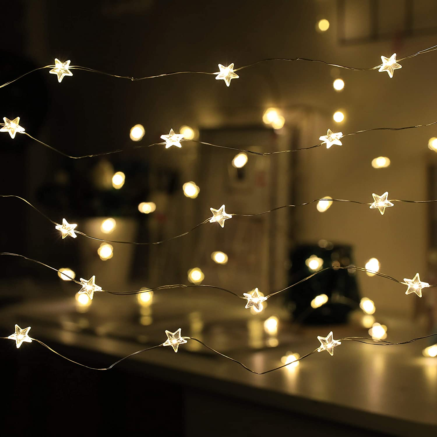 2021 Star String Lights 40 LED Decorative Fairy Light 8 Modes USB & Battery Powered Lights 13ft Waterproof Twinkle Lights Decor with Remote Control Timer for Party Decoration Holiday Kid Bedroom