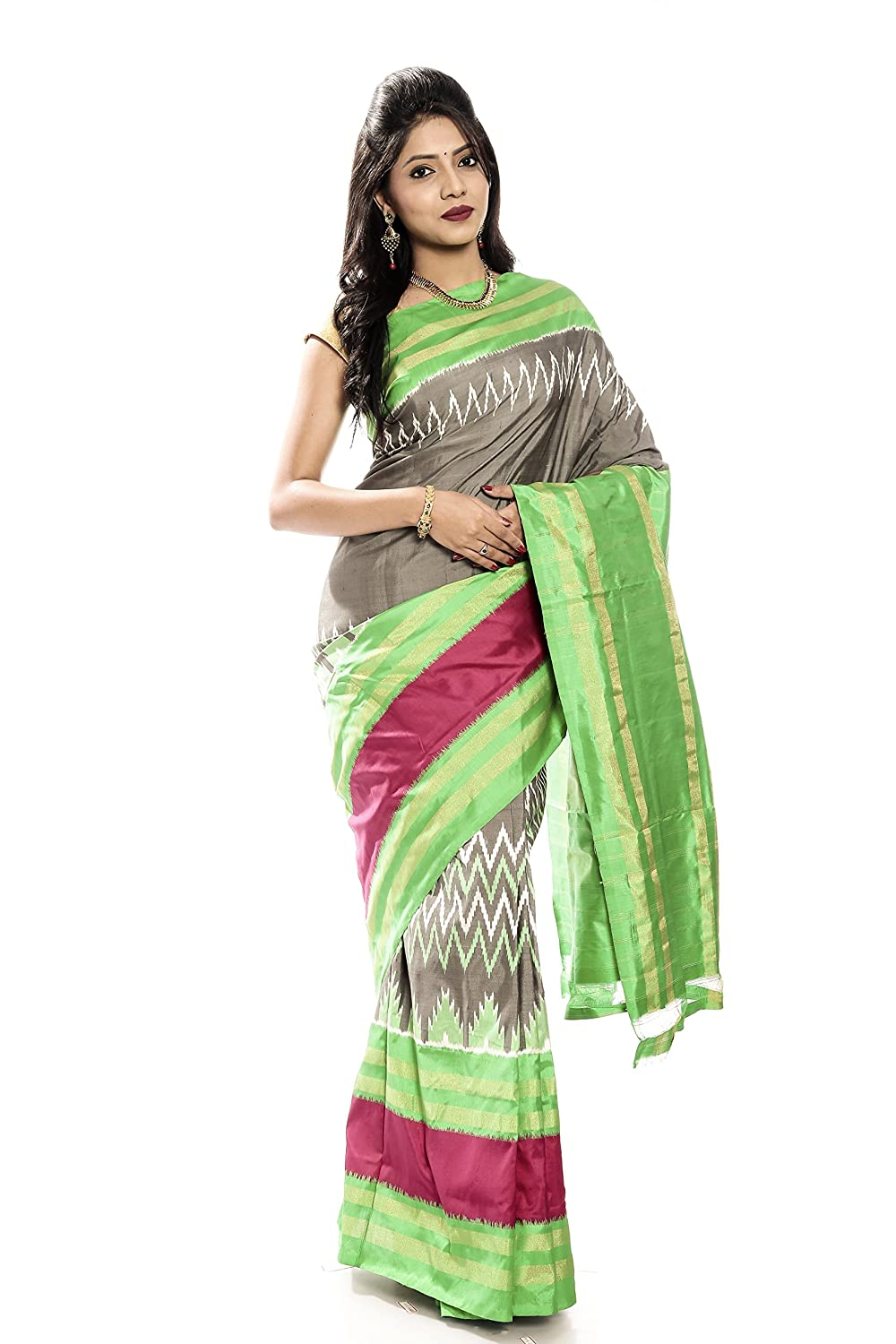 Mandakini — Indian Women's Handloom  Ikat Pure Silk Saree (GreyGreen) (MK338)