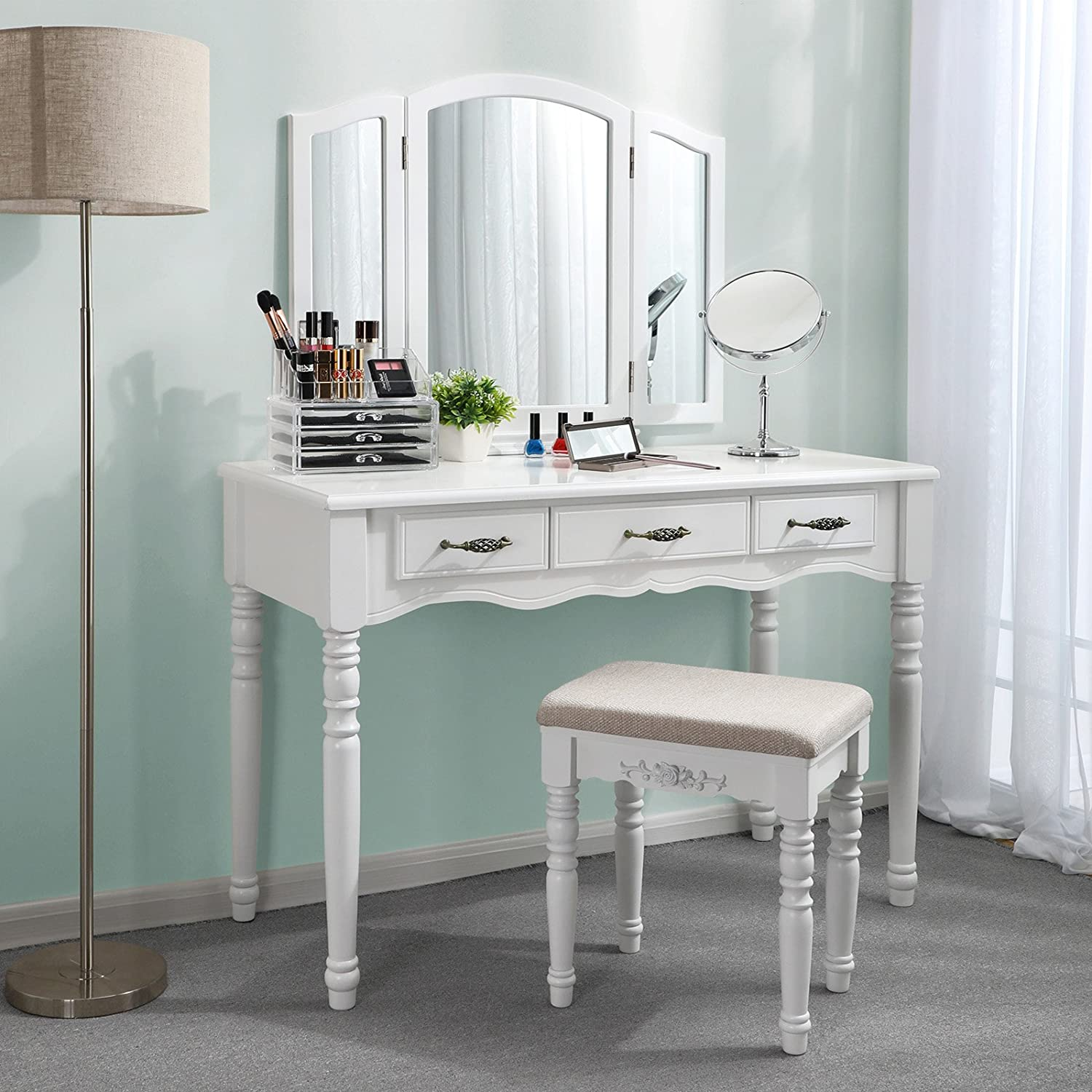 SONGMICS Vanity Table Set, 3 Large Drawers, Tri folding Mirror, Make-up Dressing Table with Cushioned Stool