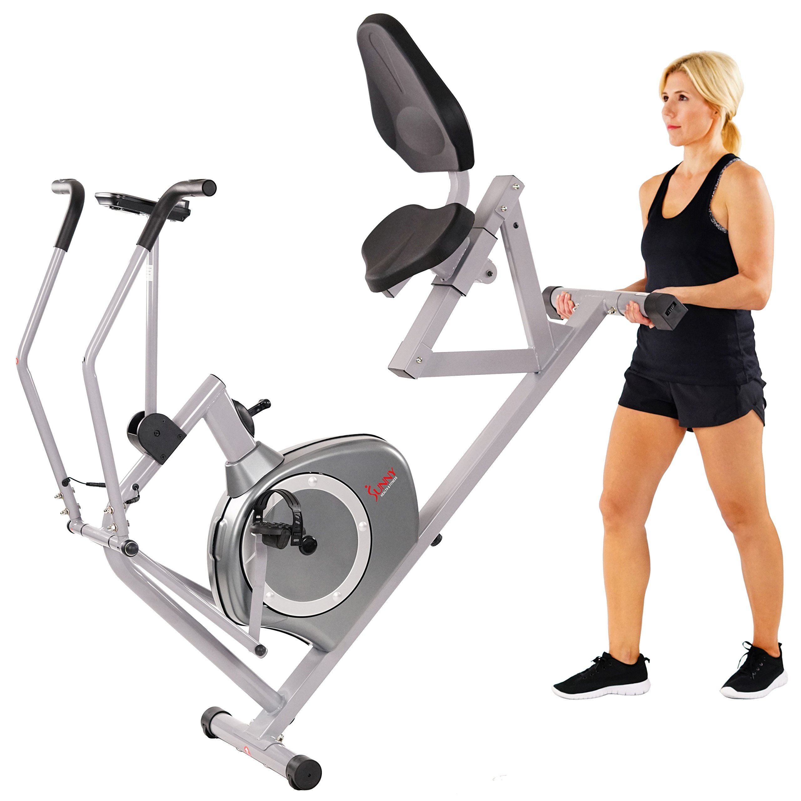 Sunny Health & Fitness Magnetic Recumbent Bike Exercise Bike, 350lb High Weight Capacity, Cross Training, Arm Exercisers, Monitor, Pulse Rate Monitoring - SF-RB4708 by Sunny Health & Fitness (Image #13)