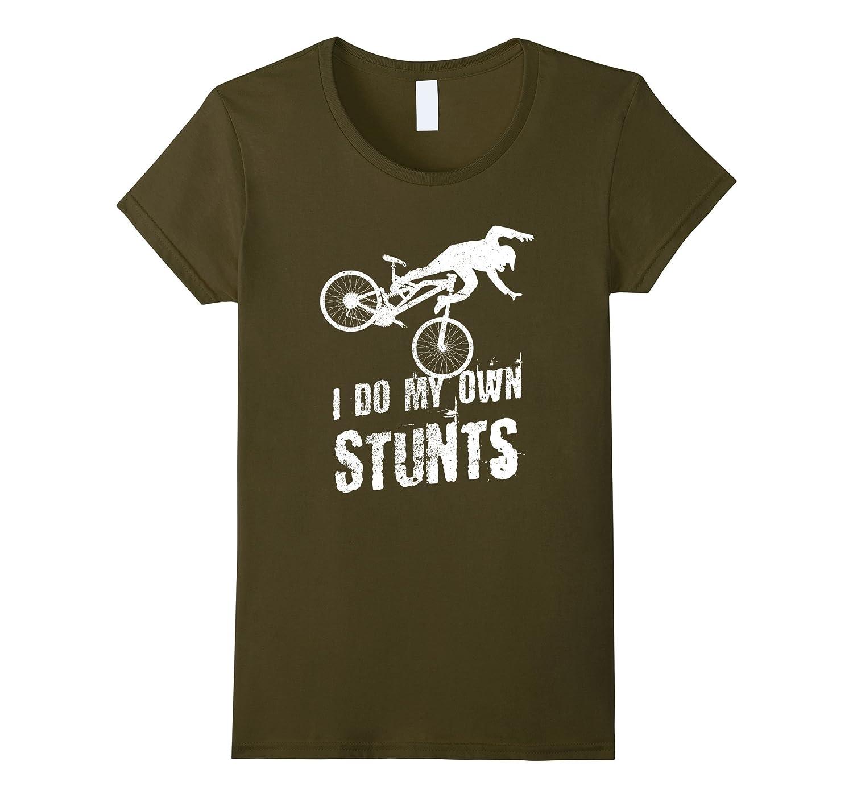 I Do My Own Stunts Funny Distressed Mountain Bike MTB Shirt-Loveshirt