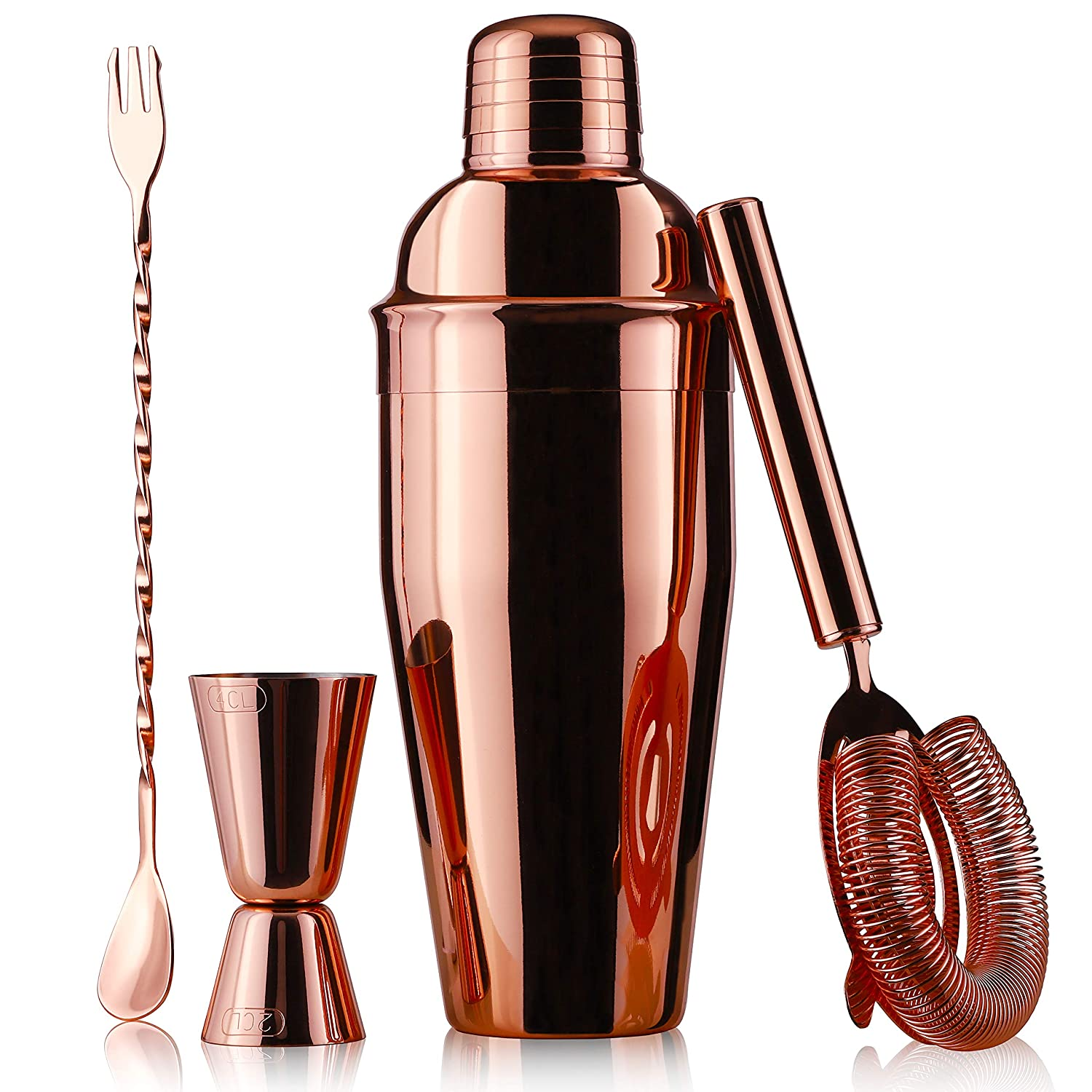 Juvale Copper Plated Stainless Steel Cocktail Set, Includes Shaker, Bar Mixing Spoon, Jigger and Ice Strainer, Black, 4 Piece Set