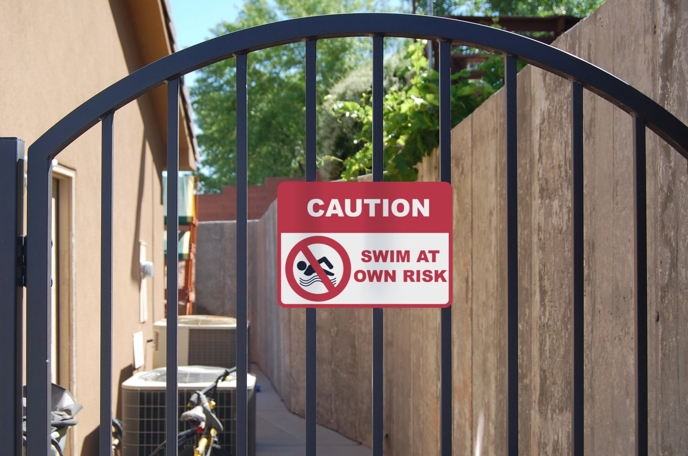 2 Pack Caution - Swim at Own Risk Spa Sign - Swimming Pool Signs - Aluminum Metal by iCandy Combat