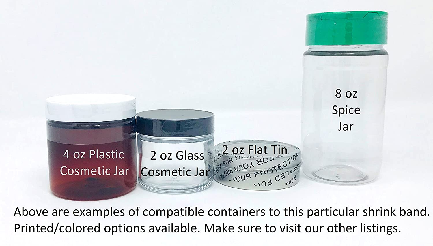 100 Pack 8 Ounce Tall Tins Clear Perforated Shrink Band for 4 Ounce Flat Tins