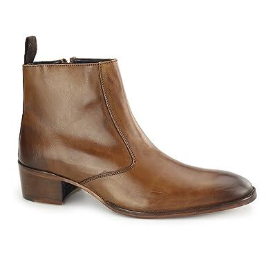 fe2f39678f Gucinari ATRANI Mens Leather Side Zip Ankle Boots Tan 46: Amazon.co ...