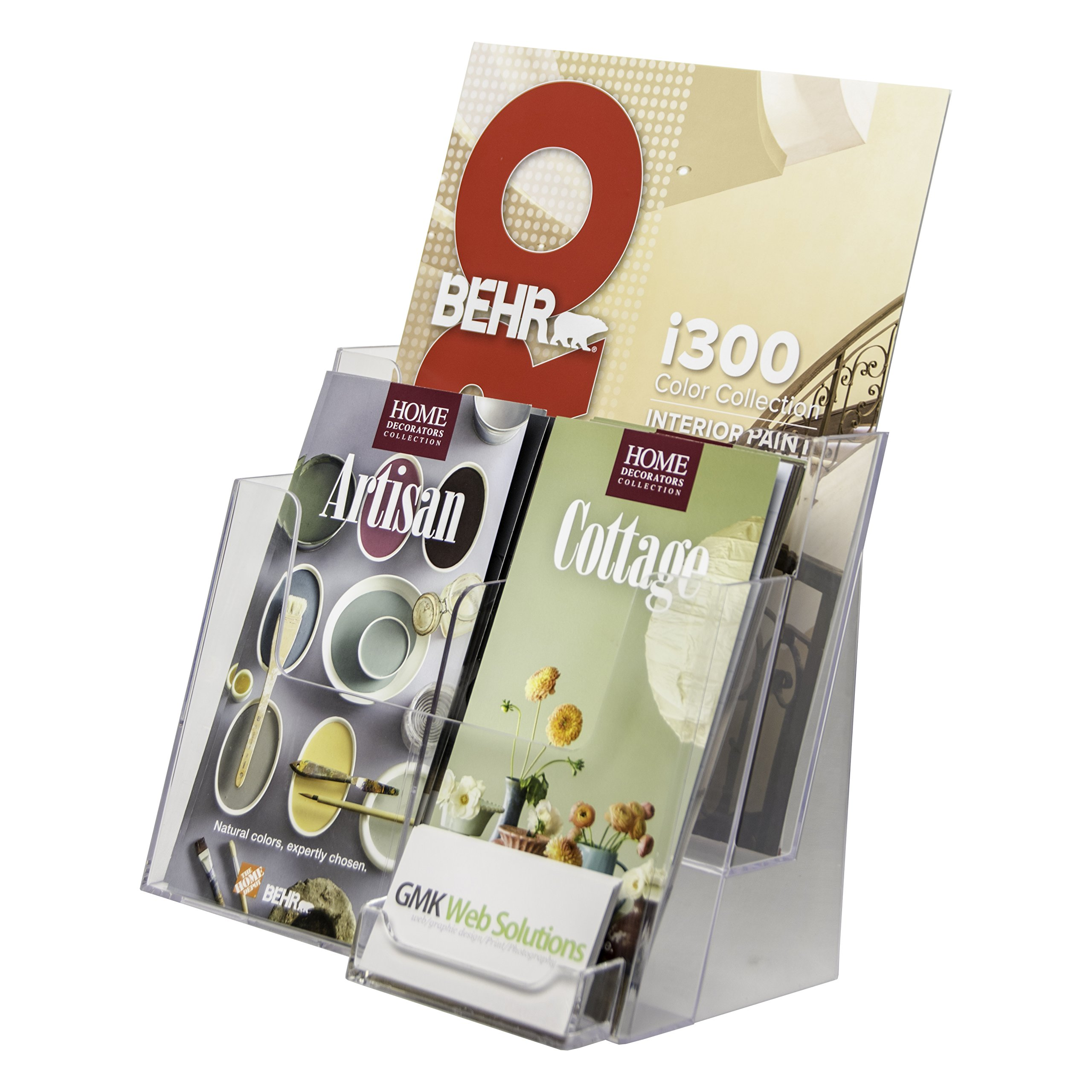 Clear-Ad - LHF-P82 - Acrylic 2 Tier Brochure Holder Organizer 8.5 x 11 with Business Card Pocket - Plastic Stand for Posters, Leaflets, Magazines, Envelopes, Flyers, Pamphlets, Booklets (Pack of 1)