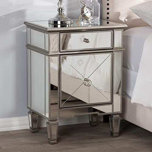 Baxton Studio Hollywood Regency Glamour Style Mirrored Nightstand