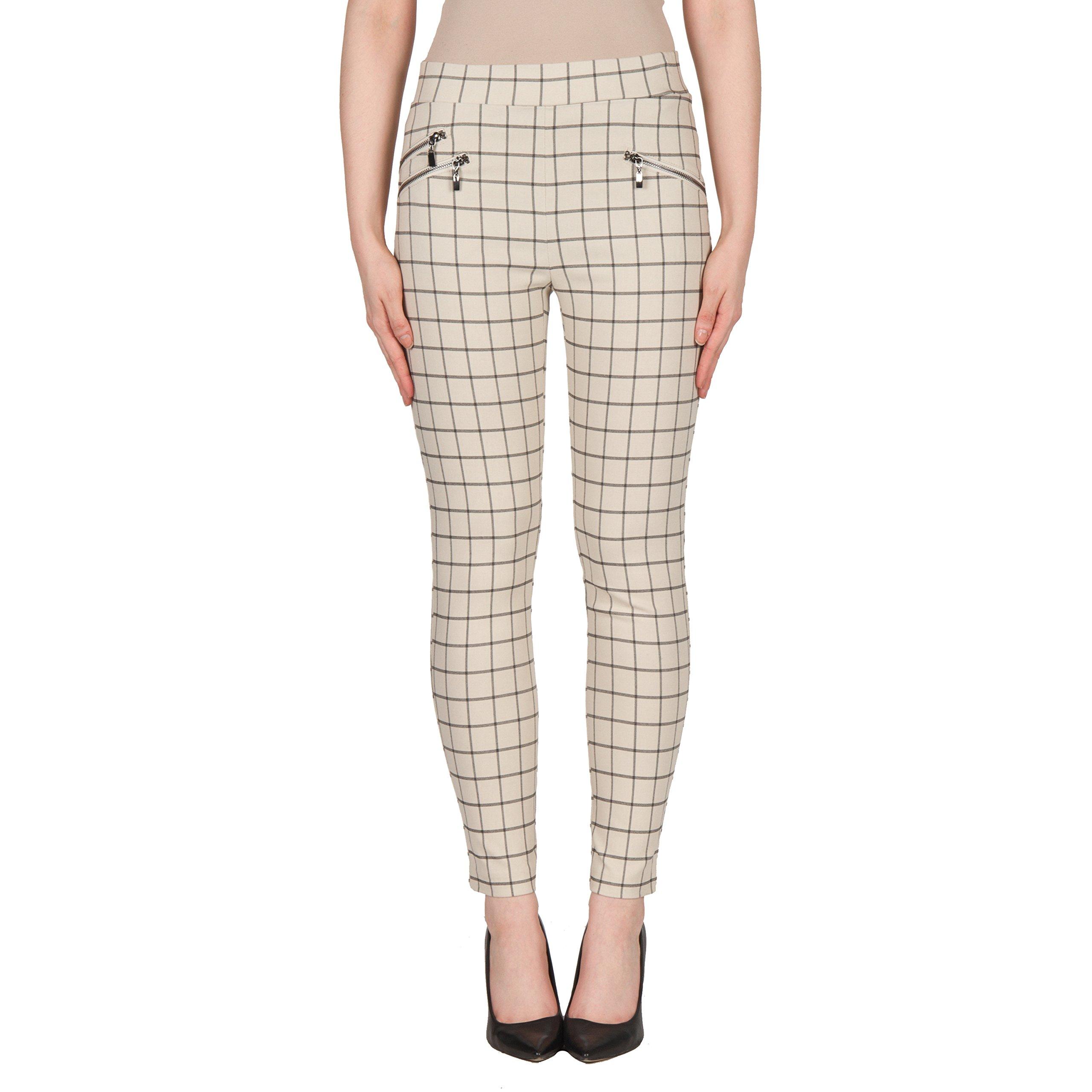 Joseph Ribkoff Stretch Twill Checkered Pant - Style 173776 - Size 8 by Joseph Ribkoff