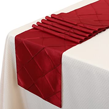 Remedios 12x108 Inch Pintuck Taffeta Table Runner Wedding Decoration  Burgundy
