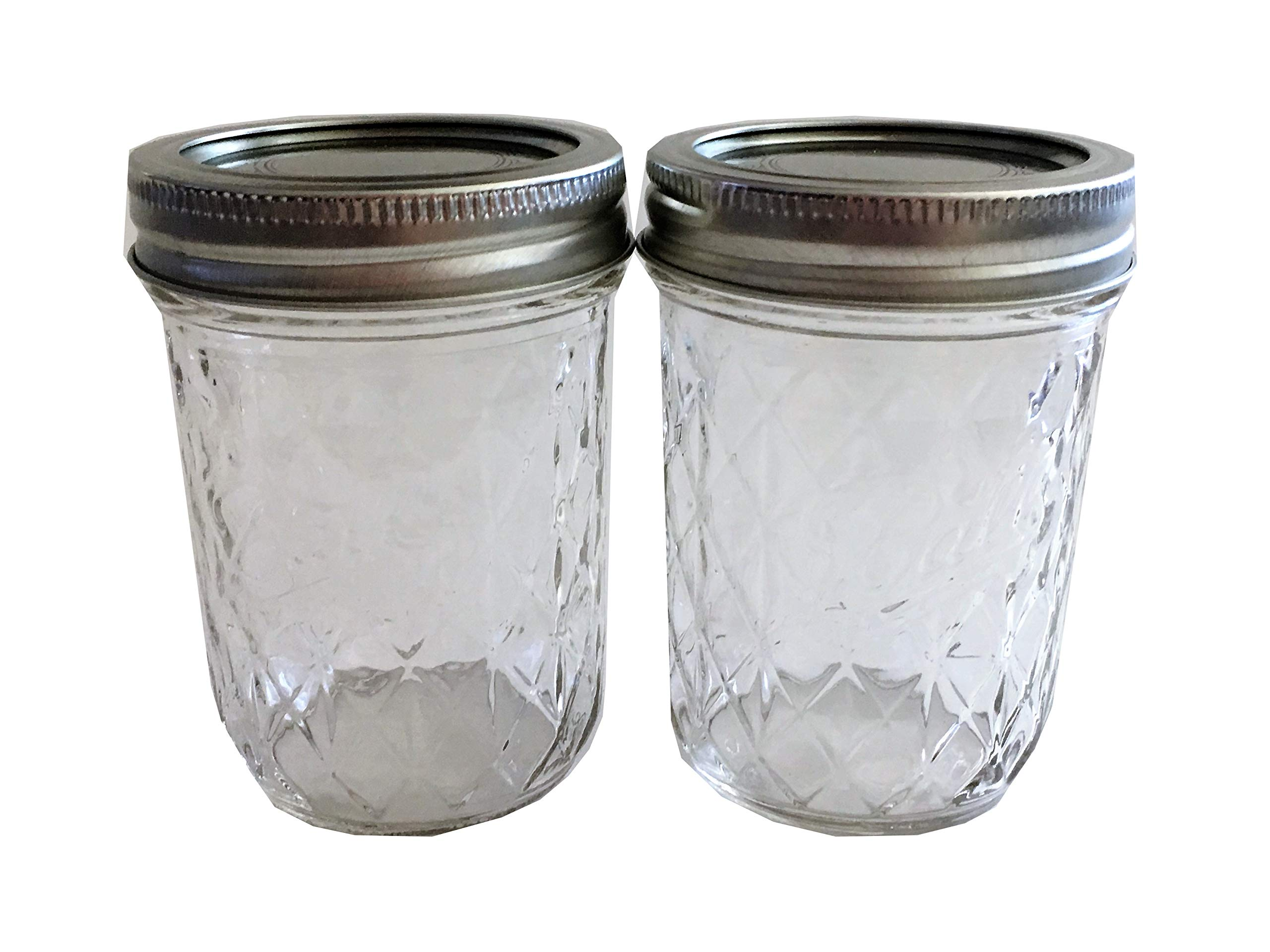 Mason Ball Jelly Jars-8 oz. each - Quilted Crystal Style-Set of 2