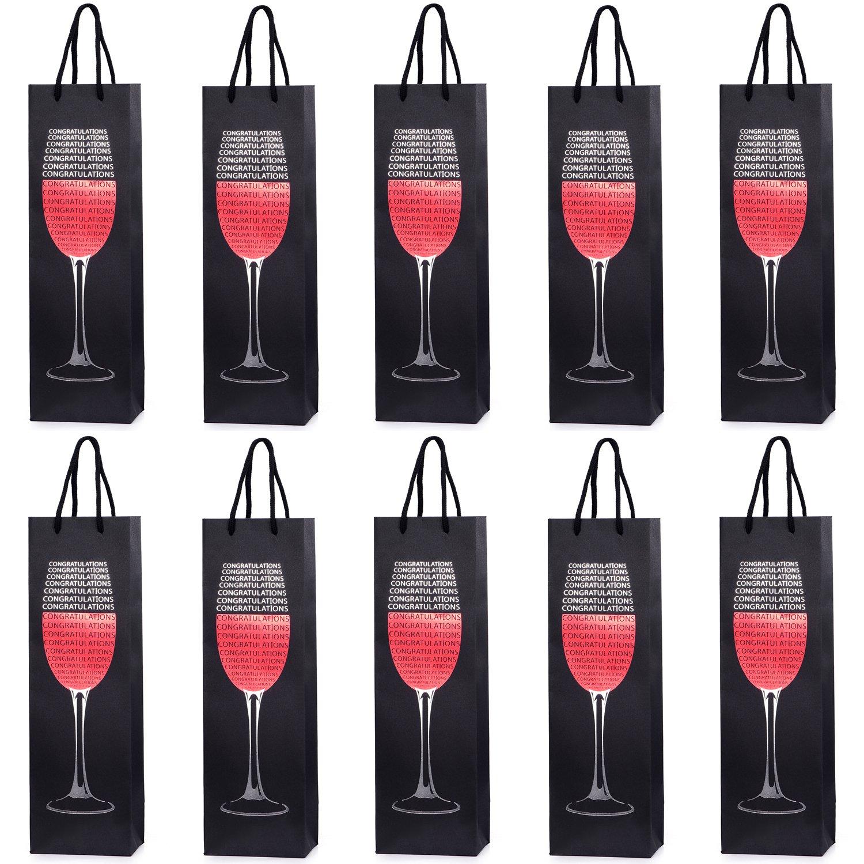 10 borse sacchetti di bottiglie, sacchetti regalo per vino, prosecco e champagne 40 x 12 x 9 cm - bottiglia d'oro Tradict GmbH