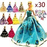 Zhihu (10Pcs dresses + 20shoes )High quality 10 Pcs Barbie Handmade Fashion Wedding Party Gown Dresses & Clothes gifts for Barbie+20 Pair Shoes for Barbie Doll