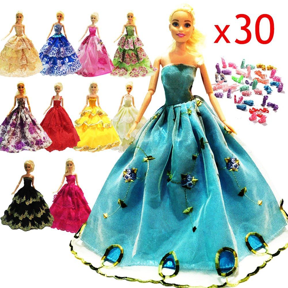 10Pcs Barbie Handmade Fashion Wedding Party Gown Dresses Clothes ...