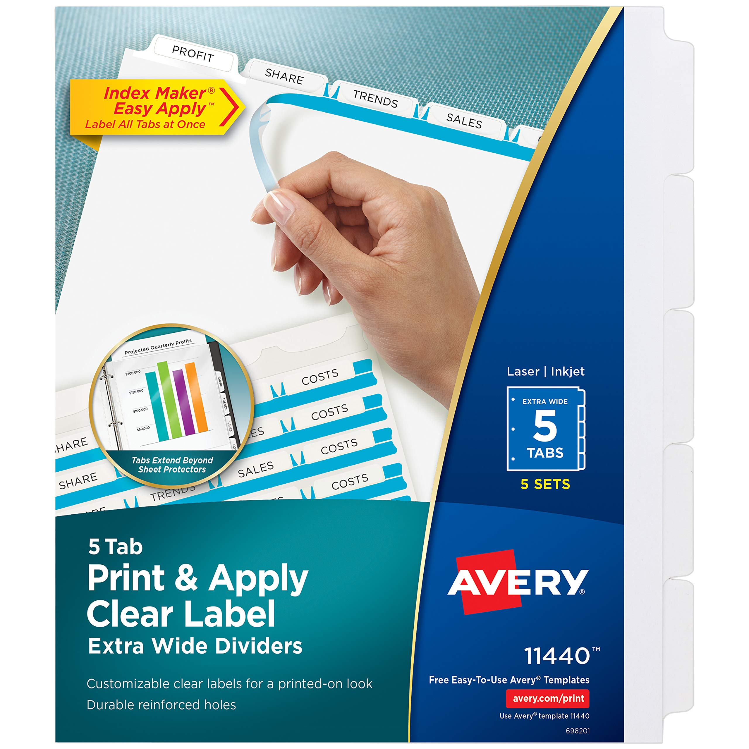 Avery 5-Tab Extra Wide Binder Dividers, Easy Print & Apply Clear Label Strip, Index Maker,White, 5 Sets (11440) by Avery