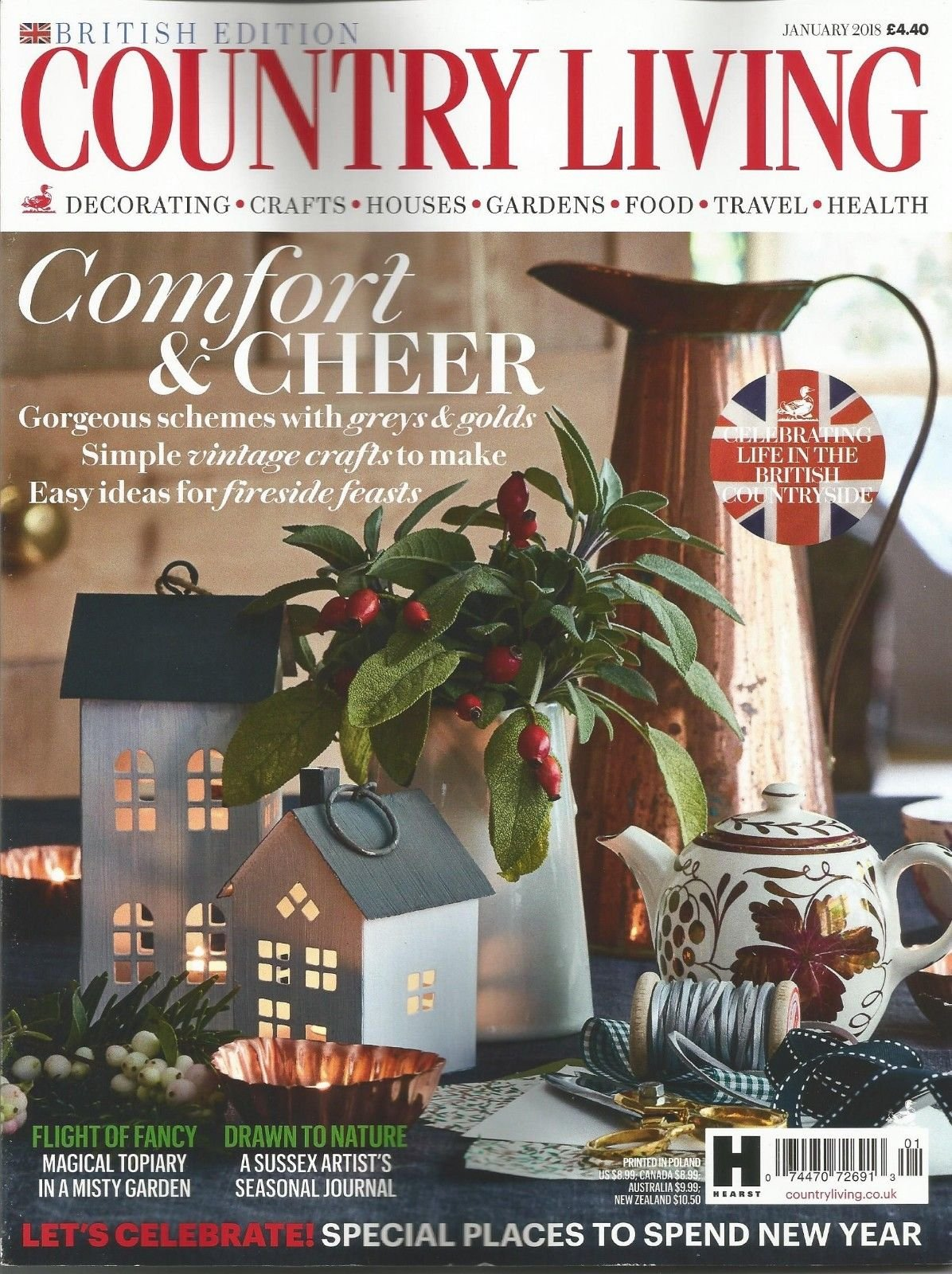 COUNTRY LIVING MAGAZINE, JANUARY, 2018 BRITISH EDITION