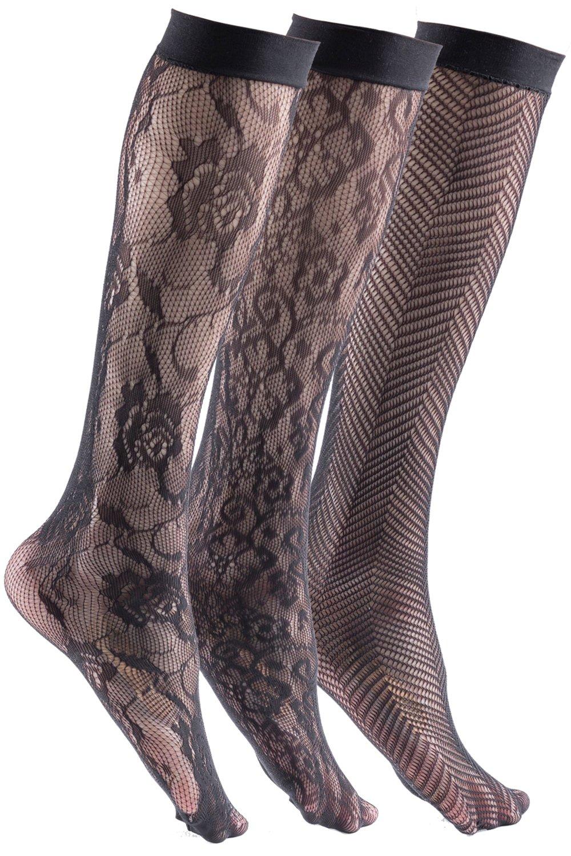 Felicity Womens Knee High Fishnet Patterned Trouser Socks Dress Socks 3 Pairs Pack F  (Black)Womens One Size