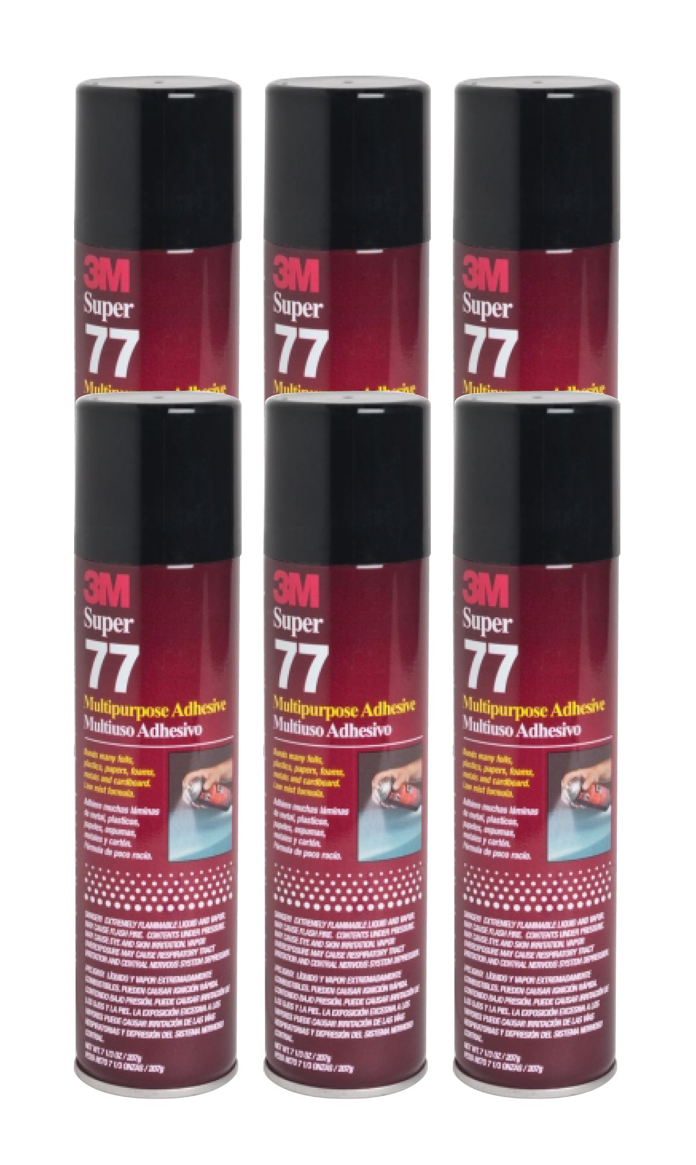 QTY6 3M SUPER 77 7.3oz SPRAY GLUE ADHESIVE for SPEAKER BOX ENCLOSURE by 3M SUPER 77