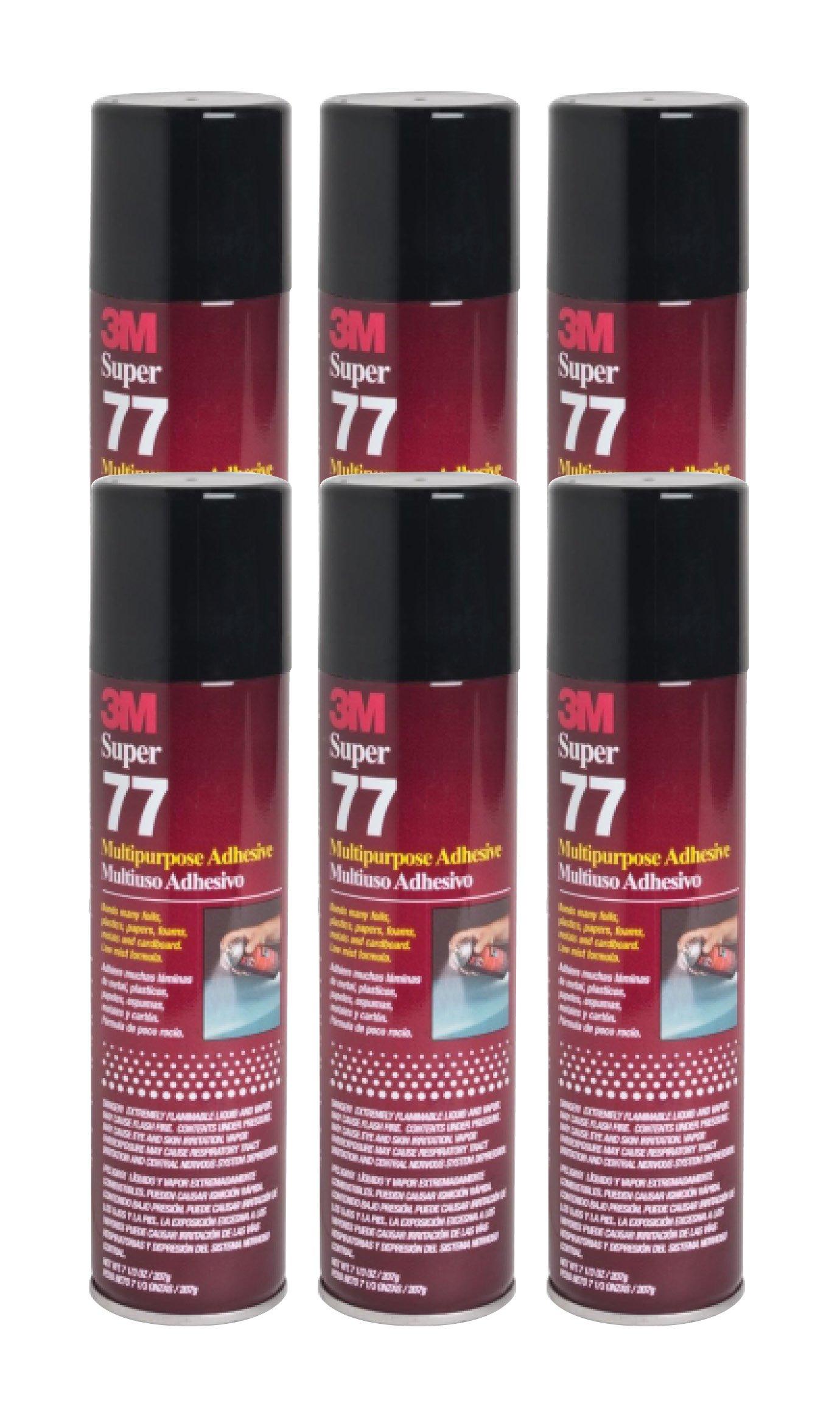 QTY6 3M SUPER 77 7.3oz SPRAY GLUE ADHESIVE for SPEAKER BOX ENCLOSURE