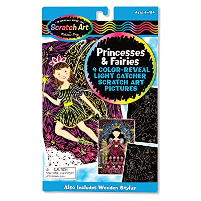 Melissa & Doug Scratch Art Color Reveal Light Catcher Pictures - Princesses and Fairies: Melissa & Doug: Toys & Games