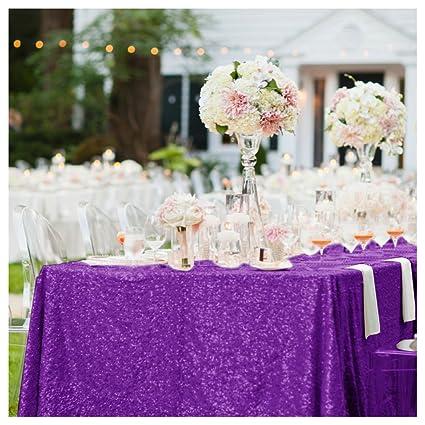 ShinyBeauty Purple Sequin Tablecloth Tablecloth 48u0027u0027x72u0027u0027Inches Wedding  Tablecloths