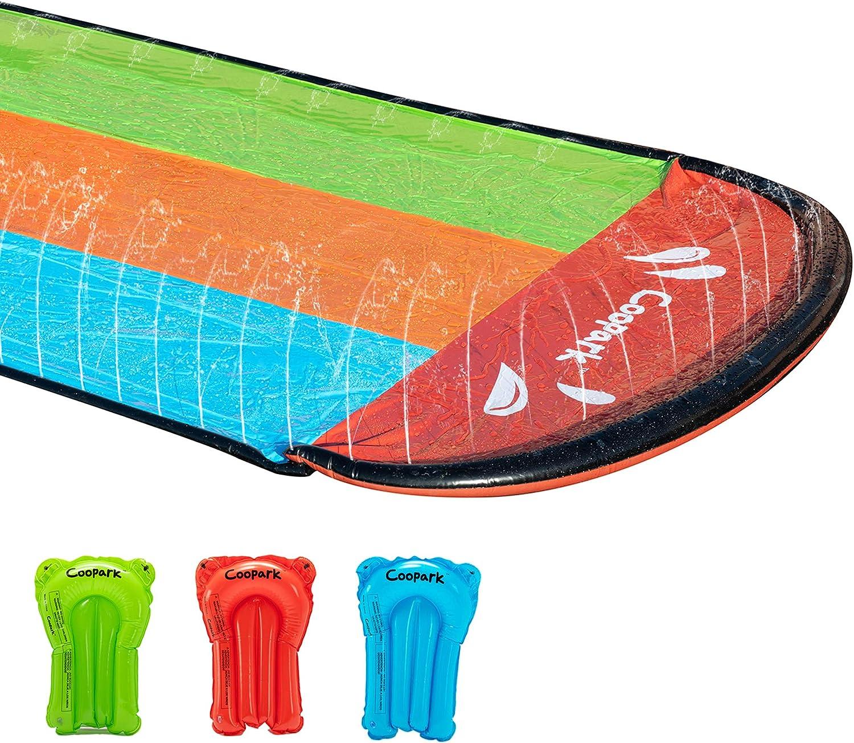 Coopark Triple Water Slide Slip for Kids and Inflatable Slide Surf Rider Sliding Lanes Splash and Slide with 3 Boogie Boards for Backyard (20FT)
