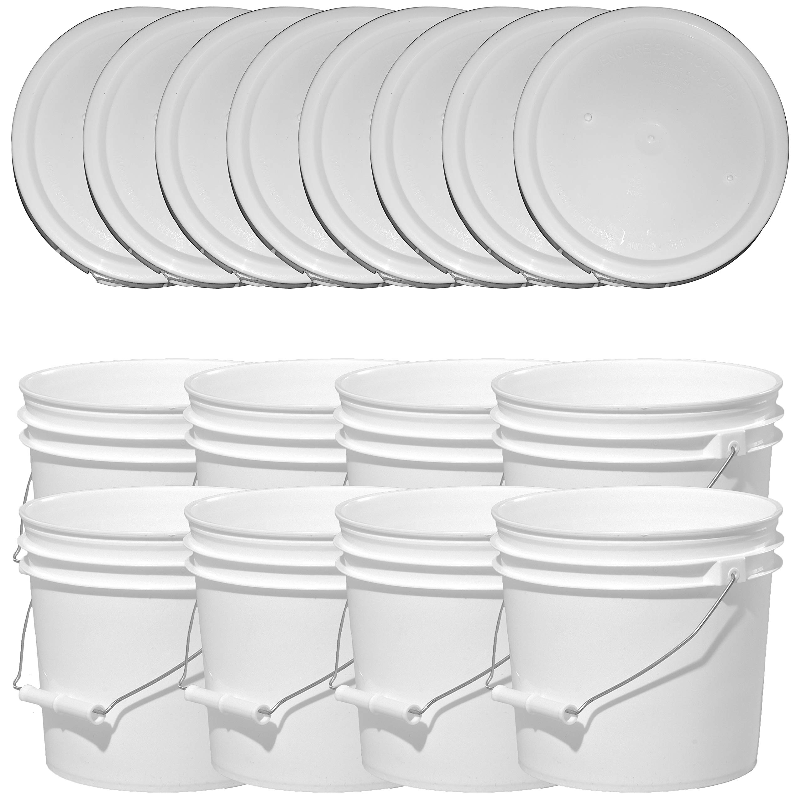 Illing Company Premium 1 Gallon Bucket, HDPE, White, 8 Pack with Matching Lids